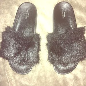 Fuzzy Black Urban Outfitter Slip Ons / Sandals